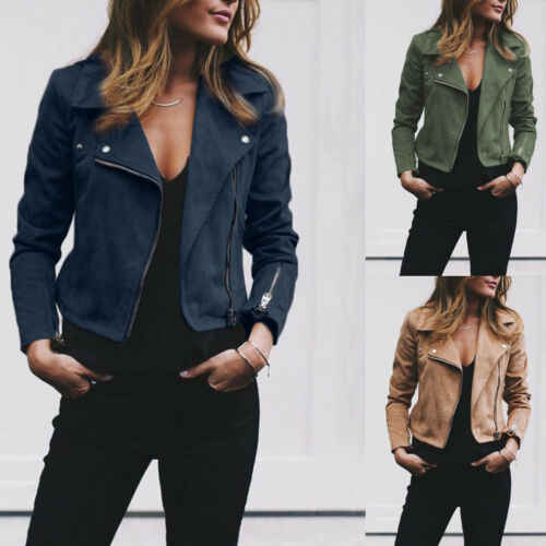 Women's Fashion Long Sleeved Ladies Suede Leather Jacket Flight Coat Zip Up Biker Casual Tops Clothes