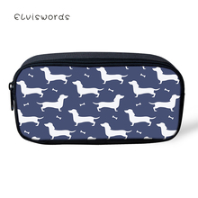 ELVISWORDS Dachshund Printed Pencil Box Cute Pencilcase Women Makeup Cases Cosmetic Bags Student Stationery School Supplies