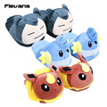 Anime Cartoon Monster Mudkip Flareon Snorlax Adult Plush Slippers Home Winter Slippers Plush Toys