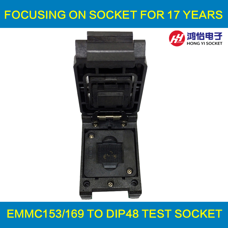 eMMC153/169 to DIP48 Test Socket IC Body Size 12x16mm Pin Pitch 0.5mm BGA169 BGA153 Clamshell Reader Adapter Data Recovery 60pcs lot 8 pin dip square hole ic sockets adapter 8pin pitch 2 54mm connector
