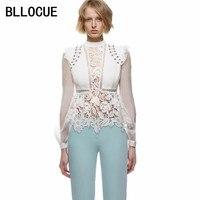 BLLOCUE Self Portrait 2018 Spring Autumn Women Lace Blouse Long Sleeve Sexy Long Sleeve Shirt Blusa