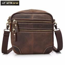 """Оригинальная кожаная мужская модная Повседневная маленькая сумка-мессенджер из воловьей кожи 8 """"через плечо на одно плечо сумка-портфель"""