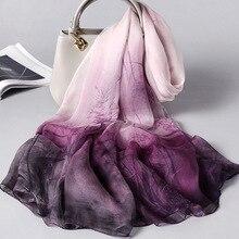 2020 Vintage Floral Print Silk Scarf Women 100% Real Silk Designer Shawls And Wr