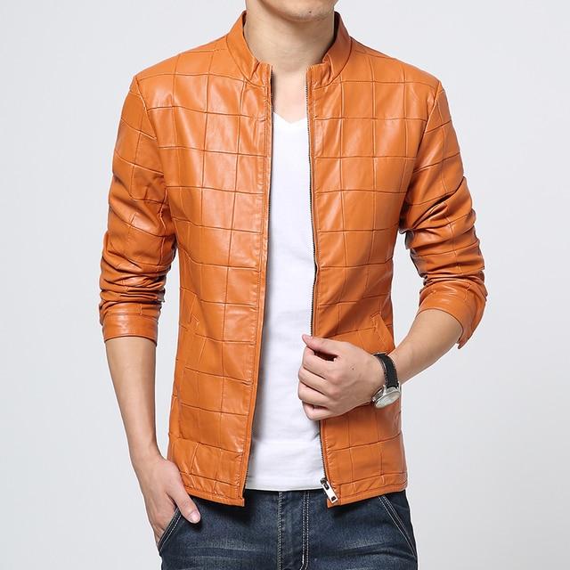 High Quality Pu Leather Jacket Men Fashion 2016 Autumn New Motorcycle Jacket Men Plus Size Solid Plaid Men's Jackets Coats Man