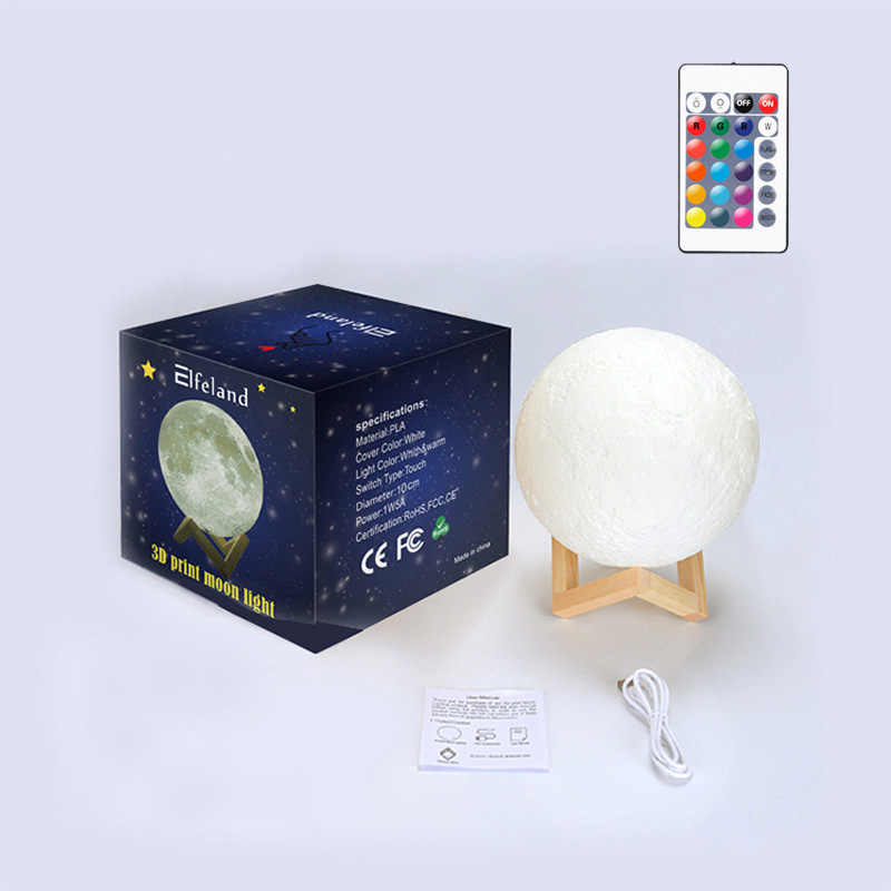 Télécommande 3D impression lune lampe Rechargeable USB 16 couleurs changement veilleuse toilette lumière luminosité ajuster décoration lampe