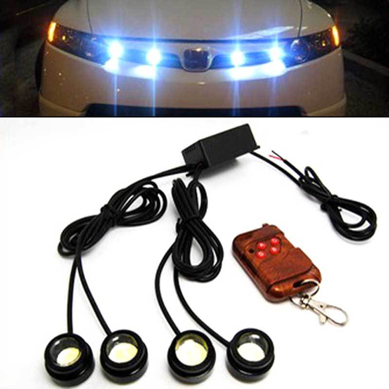 ФОТО 48W 4 lamp + 1 wireless controller led running lights daytime Grille Aux Car Head lamp Strobe flashing Round DRL Waterproof