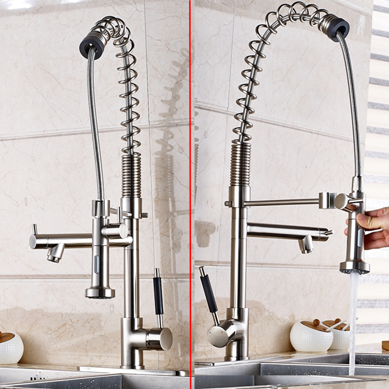 Nickel Brushed Brass Kitchen Faucet Vessel Sink Mixer Tap Dual Spout Sink Mixer luxury solid brass kitchen faucet dual spouts vessel sink mixer tap w 8 plate