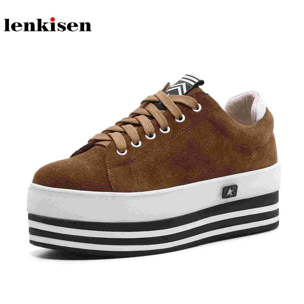 Lenkisen cow suede classic round toe lace up platform preppy causal shoes high heels student running women vulcanized shoes L87