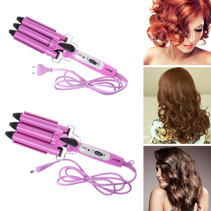 MEXI High Quality EU Hair Waver Wave Curler Ceramic Hair Curling Iron 3 Barrel Clamp Wave Curler Personal Care Appliance цена 2017
