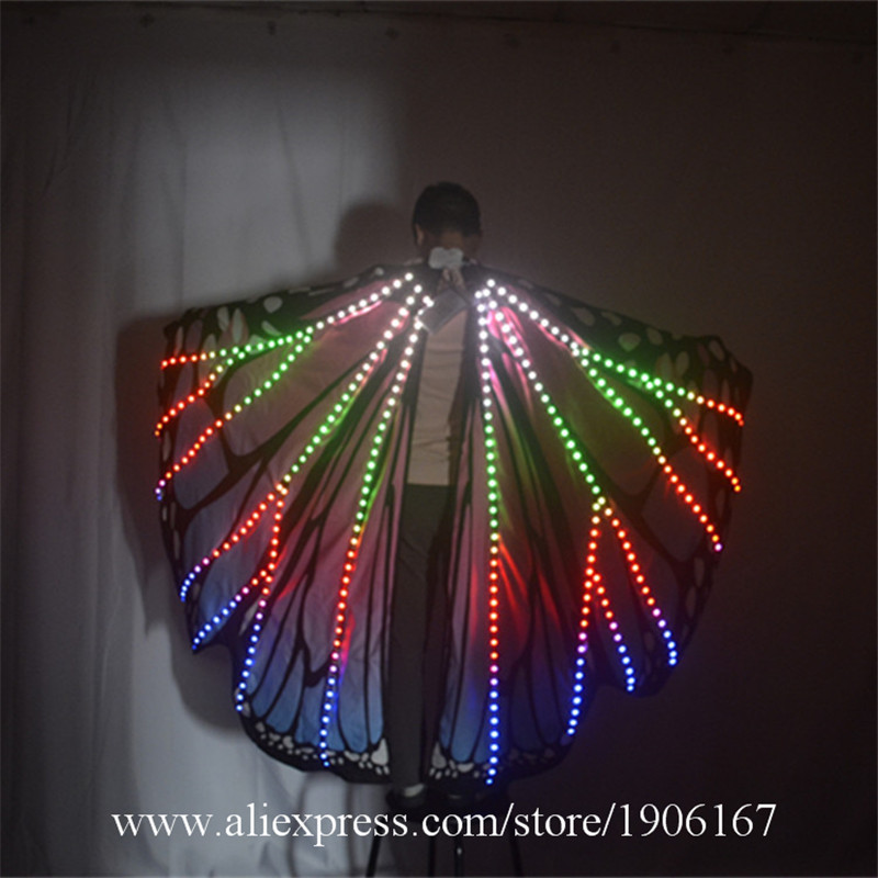 Ballroom dance led costumes luminous light dj dance colorful cloak butterfly wings catwalk perforamance dress clothe show dj05