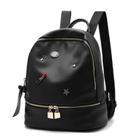 2017 New Hardware Element Backpack Lipstick Star OEM Shoulder Bag Fashion School Bag High Quality Pu