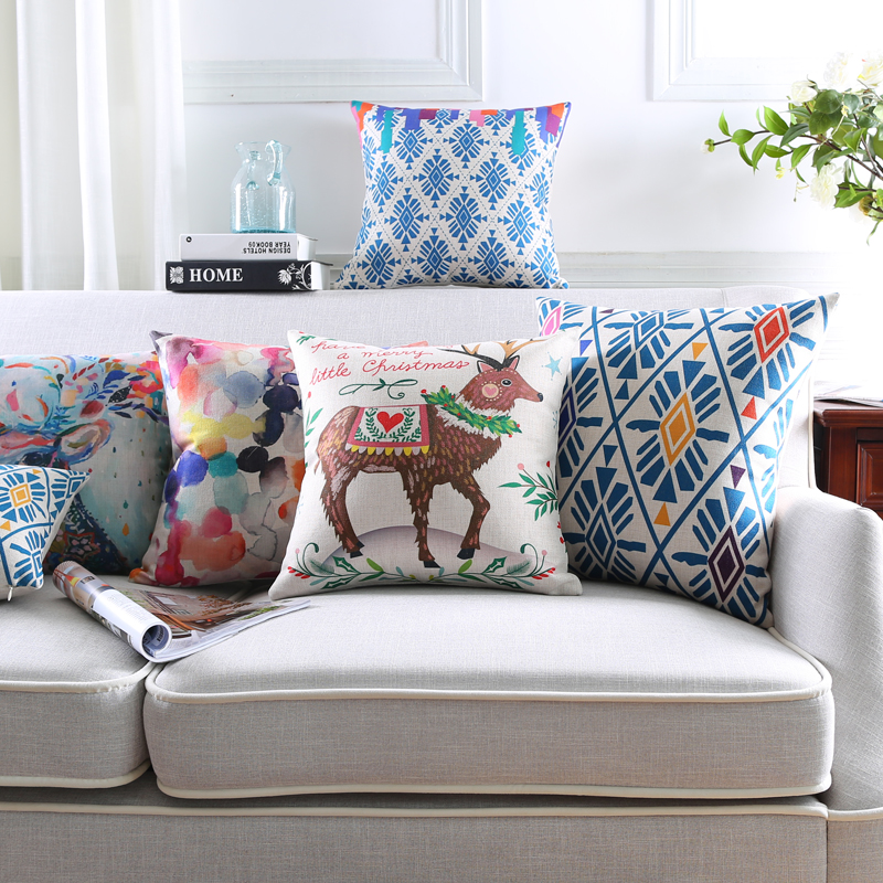 Contemporary Sofa Geometric Pillows: Modern Geometric Color Animal Deer Pillow Cover Cushion