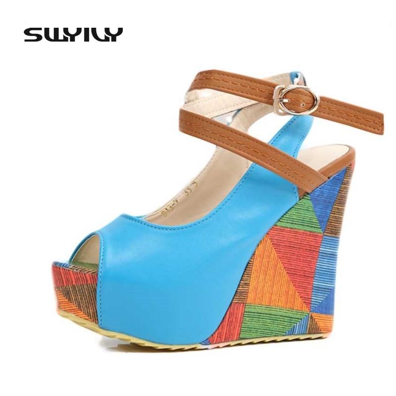 2017 الصيف منصة الكاحل الصليب الشريط النساء الصنادل عالية الكعب مضخة صغيرة الحجم 33 الحلو اللمحة تو إسفين حذاء امرأة 5 ألوان