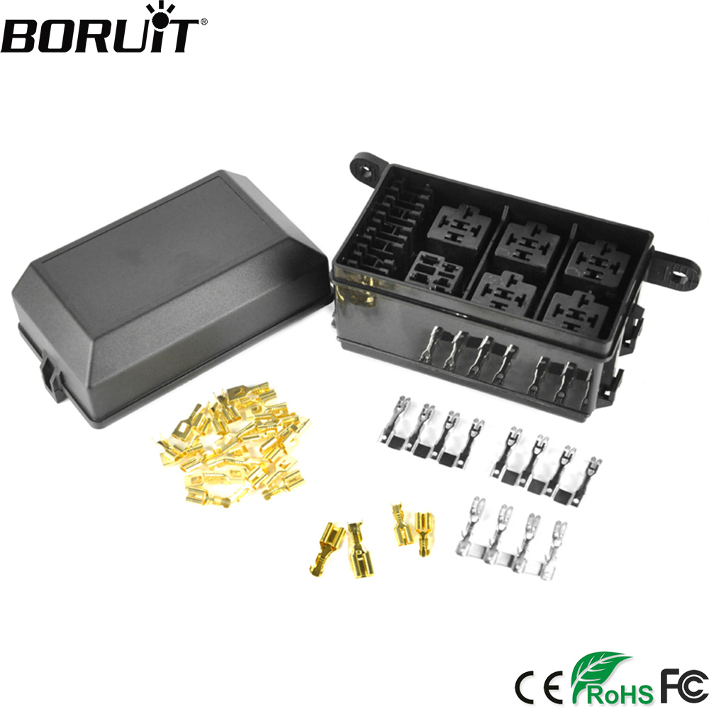 hight resolution of boruit car fuse box dc 12v 20a 6 relay block 5 road for nacelle car insurance holder automobile durable vehicle circuit blade
