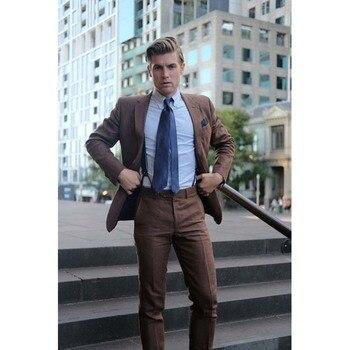 2017 Fashion Slim Fit Men Suit Notch Lapel Latest Coat Pant Design Brown Mens Suits Bespoke Wedding Men Tuxedo (Jacket+Pants)