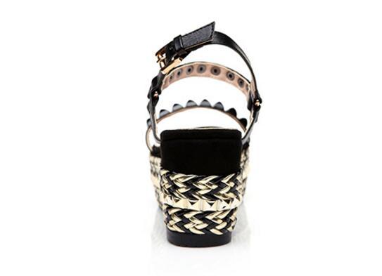 Mode Boucle Rivets Plate Sangle Cm Black B287 gold Haute Sandales Perles Compensées Élégantes Talon forme 7 3 Chaussures Conception Dame zttAxrZ