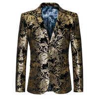 Chaqueta de esmoquin de diseño barroco de excelente calidad para hombre, chaqueta de esmoquin con estampado de pintura Floral dorada, talla grande M 6XL