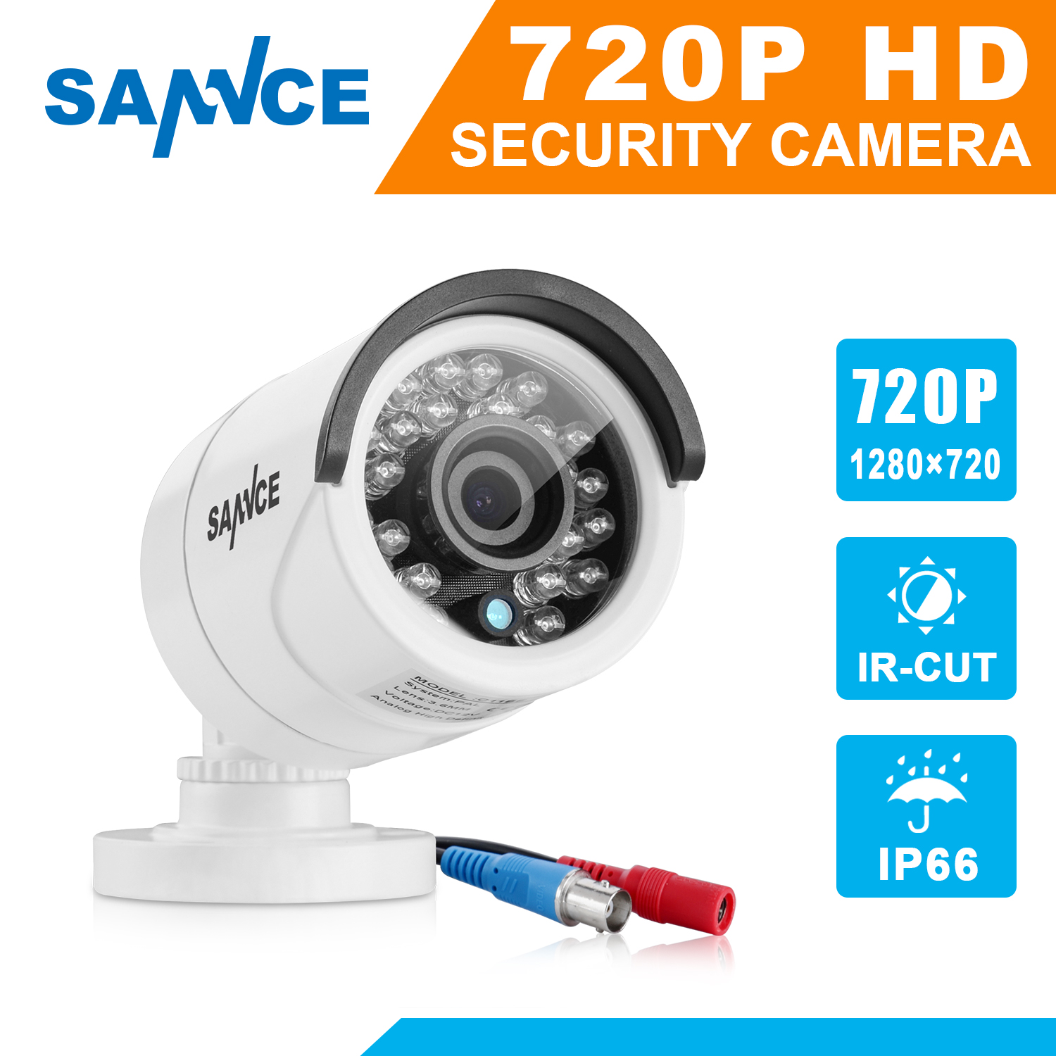 SANNCE AHD 720P 1200TVL Bullet CCTV Camera 1280*720 1.0MP Waterproof IR-Cut Night Vision Camera For Surveillance System Kit BE lifan 720 720