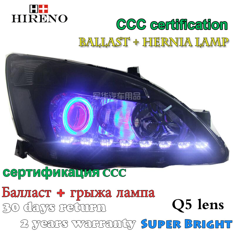 Hireno Modified Headlamp for Honda Accord 2003-2007 Headlight Assembly Car styling Angel Lens Beam HID Xenon 2 pcs hireno car styling headlamp for 2003 2007 honda accord headlight assembly led drl angel lens double beam hid xenon 2pcs