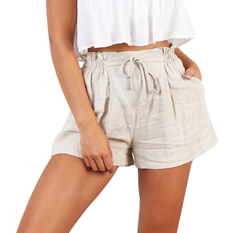 2019 New Waist Solid Shorts Women Casual Loose A Line Beach Summer Short Elastic Shorts