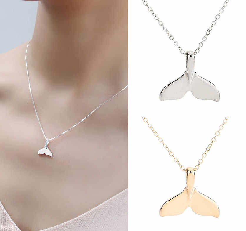 Retro Women Chain Necklace Whale Tail Fish Nautical Charm Mermaid Tail Pendant Necklace Jewelry