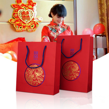 100pcs/lot 3 Size Chinese Style Luxury Traditional Red Double Happiness Wedding Gift Paper Bag With Handle Package Candy Bags
