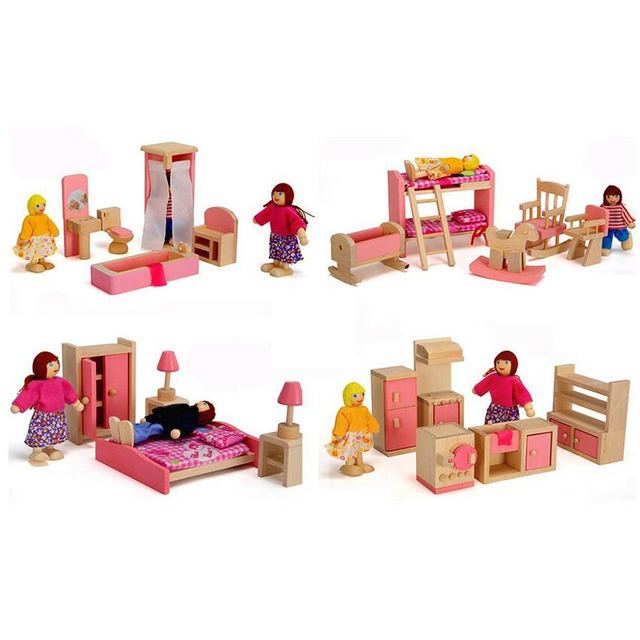 CUTEBEE Toys Kids Play Pretend Toy Design Wooden Doll House Furniture  Dollhouse Miniature 1:12