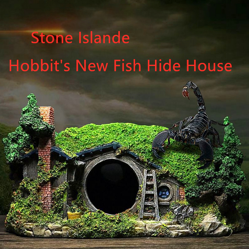 New Aquarium Decoration Stone Islande Hobbit Home Fish Tank Ornament Resin Stone Is Land Decorative Rocks Background Dccessories