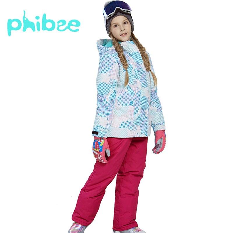 Phibee Ski costume garçon fille enfants vêtements chaud étanche coupe-vent Snowboard ensembles hiver veste enfants vêtements