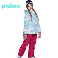 Traje de esquí Phibee niño niña ropa para niños Cálido impermeable a prueba de viento Snowboard Sets chaqueta de invierno ropa para niños