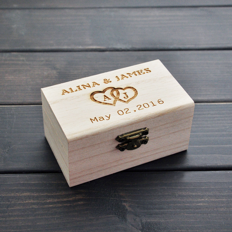 Rustic Wedding Ring Bearer Box Personalized Wooden Holder Decor Customized Gifts In Party Diy Decorations From
