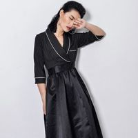 Striped Noted Collar Patchwork Dress 2017 Women Spliced A Line Suit Dress Women Clothing Special Design