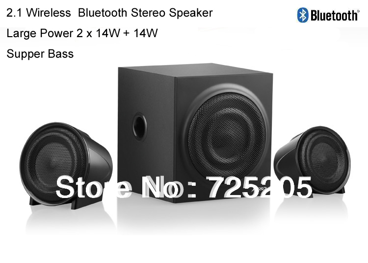 2.1 Wireless Bluetooth Speaker Stereo Wooden Cabinet Large Power Output 2 X14W Plus 14W Bluetooth 2.1 EDR Multimedia Speaker