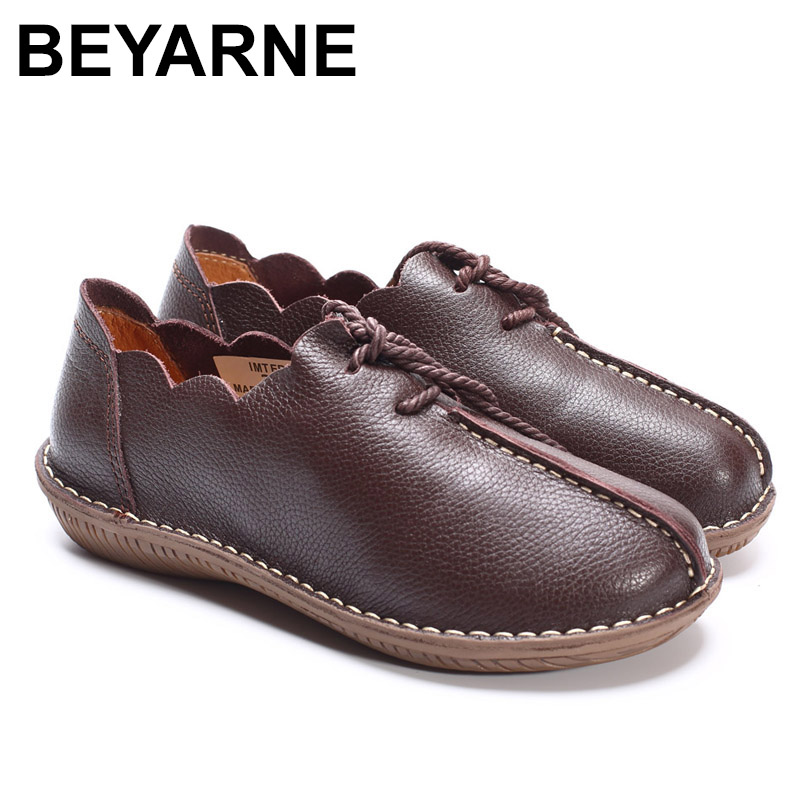 BEYARNE Women Flat Shoes 100% Genuine Leather Ladies Flat Shoes Casual Lace up Moccasins Shoes Female Footwear 100% genuine sheepskin leather women flat shoes ladies shoes flats moccasins female footwear sneakers casual shoes black white