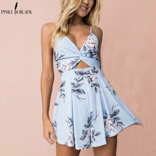 PinkyIsBlack 2019 Sexy v neck strap print rompers women jumpsuit Bow short playsuit Backless high waist summer jumpsuit overalls цены