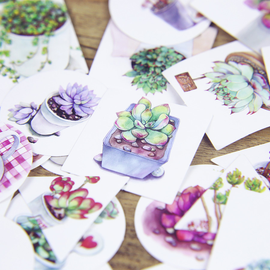 1LOT=40PCS Boxed Kawaii Cartoon Succulent Mini Paper Stickers ...