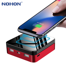 NOHON 20000mAh Wireless Charger Power Bank For iPhone Samsung Powerbank Dual USB Ports Fast Charging