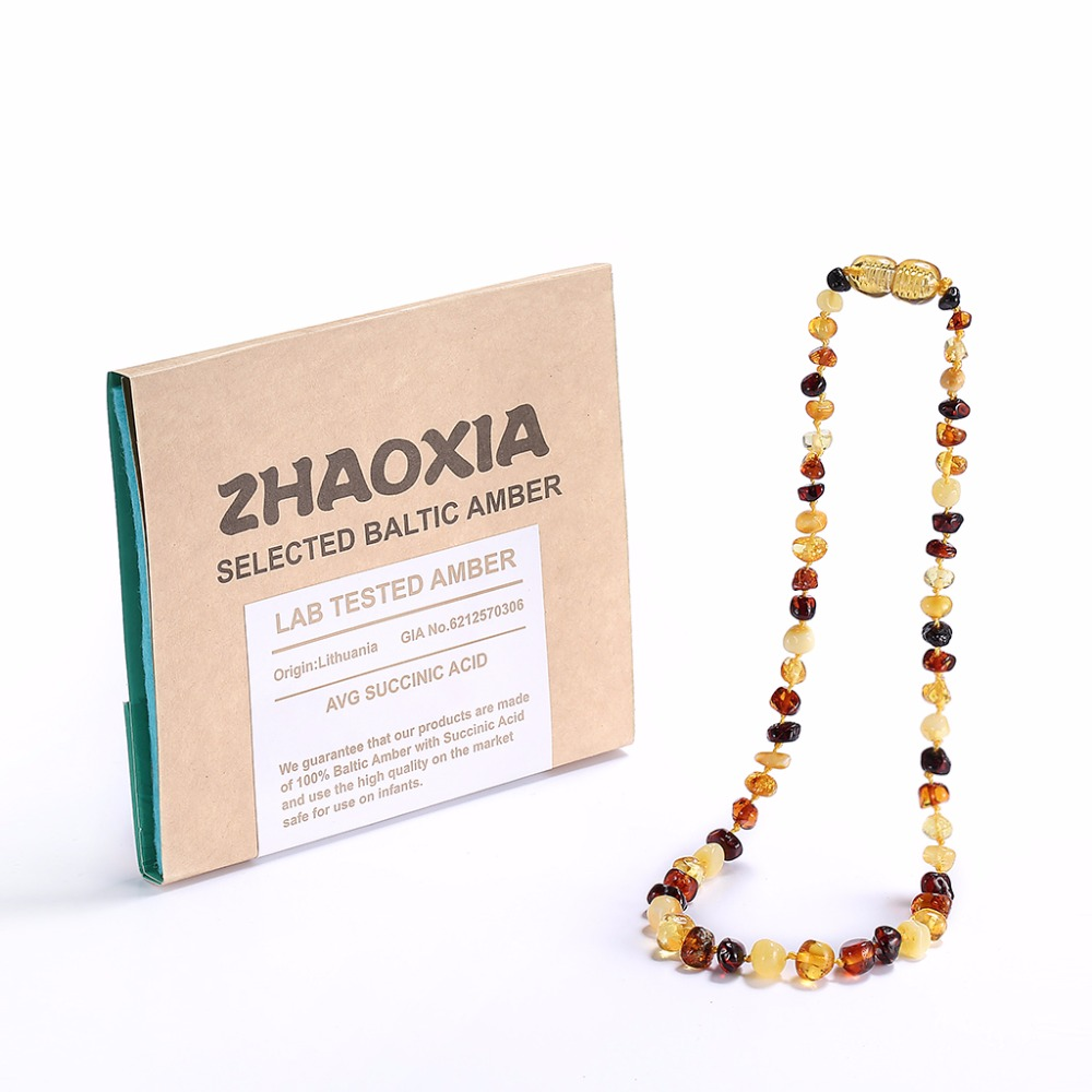 Baltic Amber Teething Necklace(Multicolor) - Handmade in Lithuania - Lab-Tested Authentic - 3 Sizes