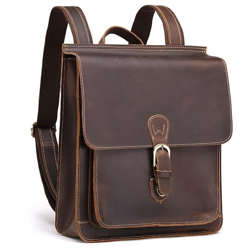 0f6eb4d9883d Высокое качество натуральной мужской кожаный рюкзак женский рюкзак ретро  унисекс школьный рюкзачок увлечение 100% Horse кожа путешествия рюкз.