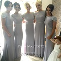 Saudi Arabic Silver Grey Mermaid Bridesmaid Dresses Plus Size Long Wedding Formal Dress to Party Cap Sleeve Sequined Vestidos