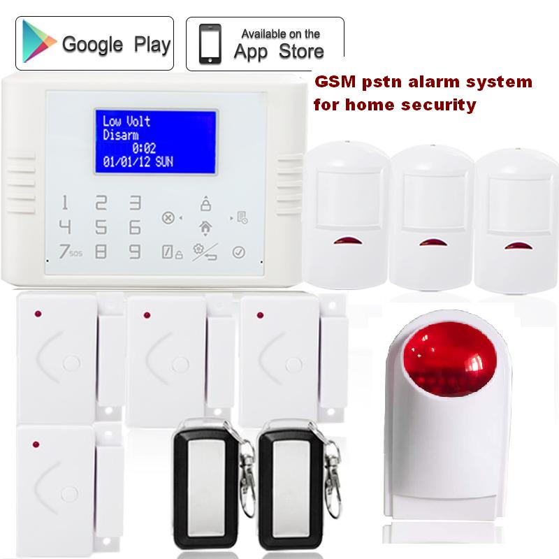 433mhz Wireless quadband dual networks gsm pstn alarm System Home Security anti theft alarm with wireless strobe siren not guilty homme бермуды