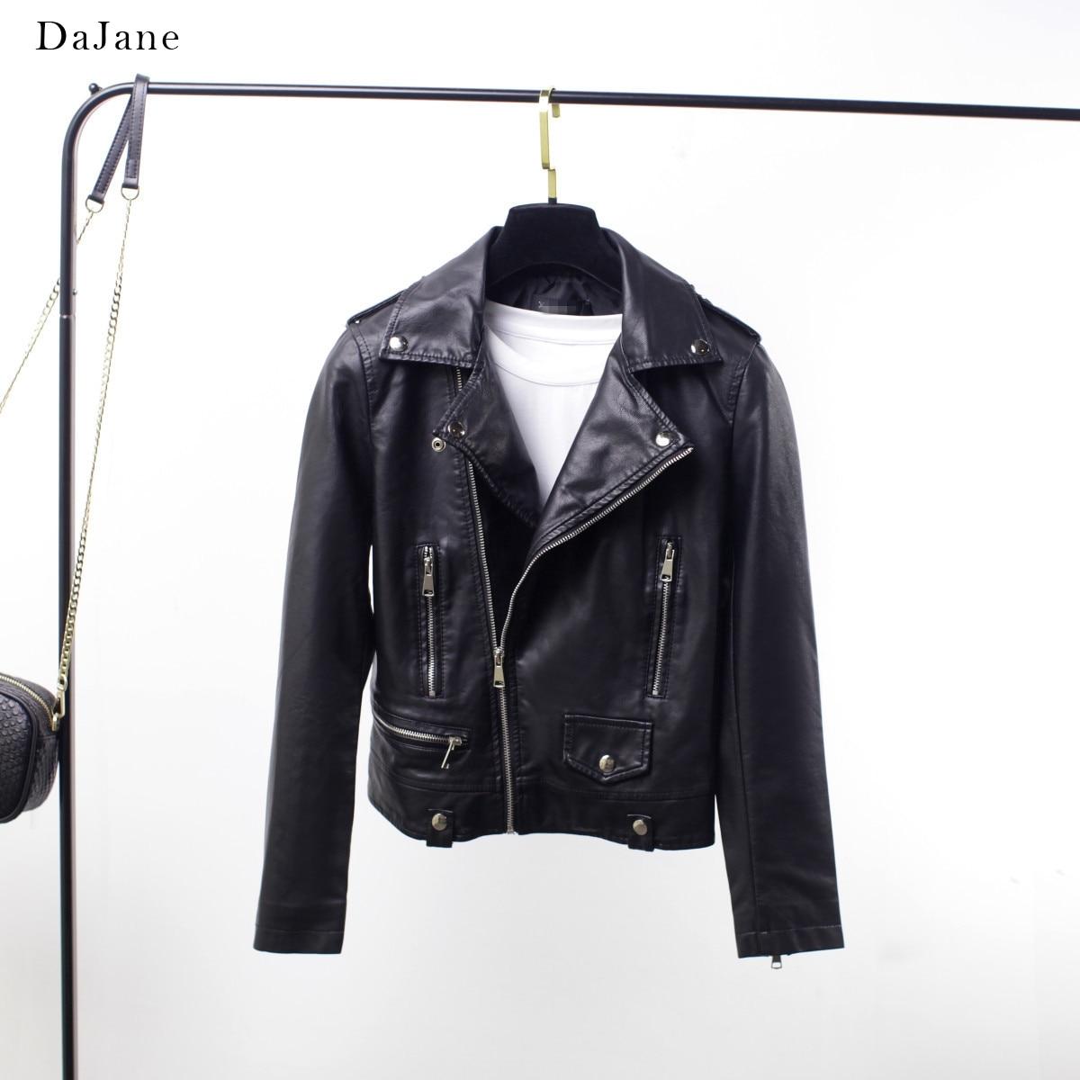 DaJane Korean women's Jacket Zheng Shuang Star With The Same Motorcycle   Leather   Women Short PU Jacket
