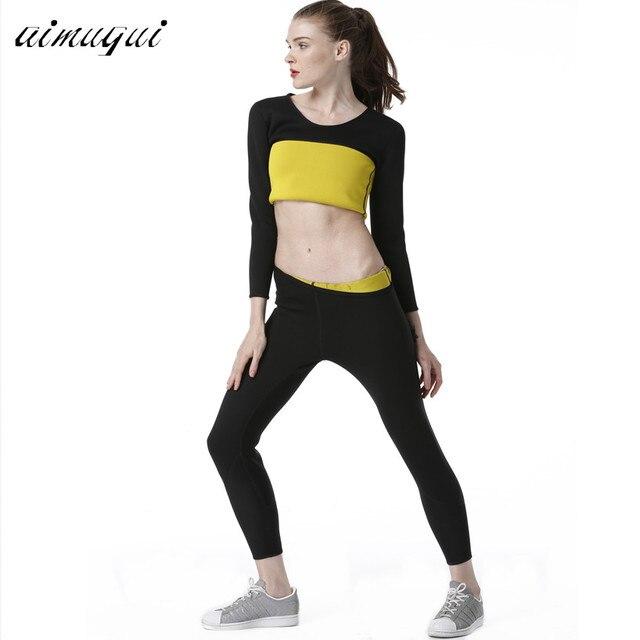 1e54f9bb5ff2b Long Pants+Long Sleeve T Shirt Women Neoprene Hot Shapers Tight Fitness  Sweat Slimming Vest Body Shaper Trainer Shirt Pants Set