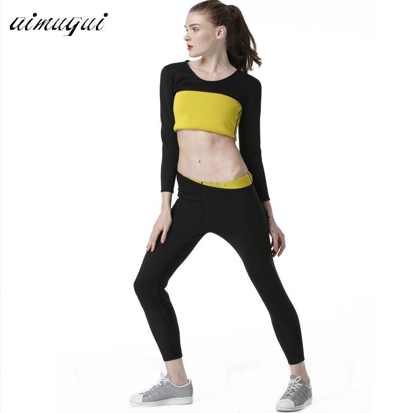 Long Pants+Long Sleeve T Shirt Women Neoprene Hot Shapers Tight Fitness Sweat Slimming Vest Body Shaper Trainer Shirt Pants Set