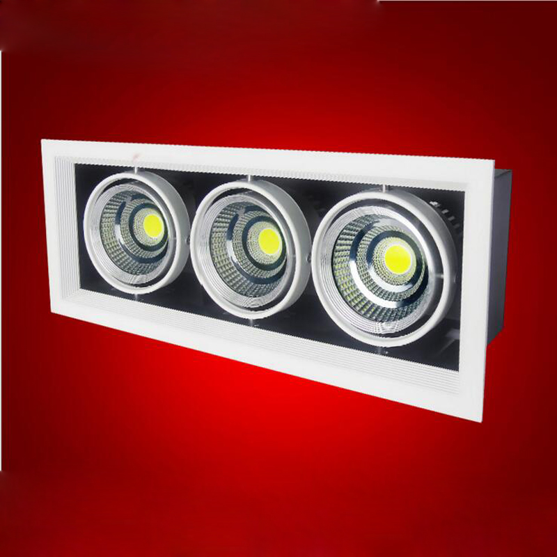 4pcs/lot Double Grille spotlight Dimmable Recessed LED downlight COB 2x12W 3x12w dimming led ceiling lamp AC85-265v 12w led grille lamp ac85 265v 210 210mm four heads recessed spots grille lights indoor commercial office led lattice lighting