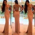 Sirena elegante vestido de noche largo 2017 nuevo V cuello largo sin mangas vestidos de fiesta vestidos de abalorios de cristal de baile vestido formal