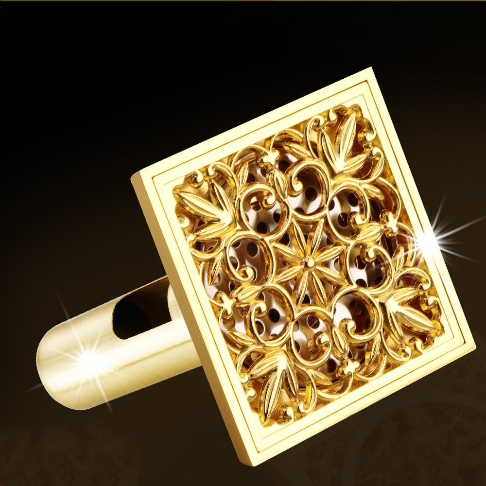 Luxury Golden Square Floor Waste Drain Bathroom Shower Drain