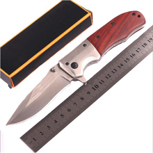 Folding knife 58HRC Blade Rosewood Handle Titanium Tactical Knife Pocket Camping Tool fast open Hunting Knife Survival Knife