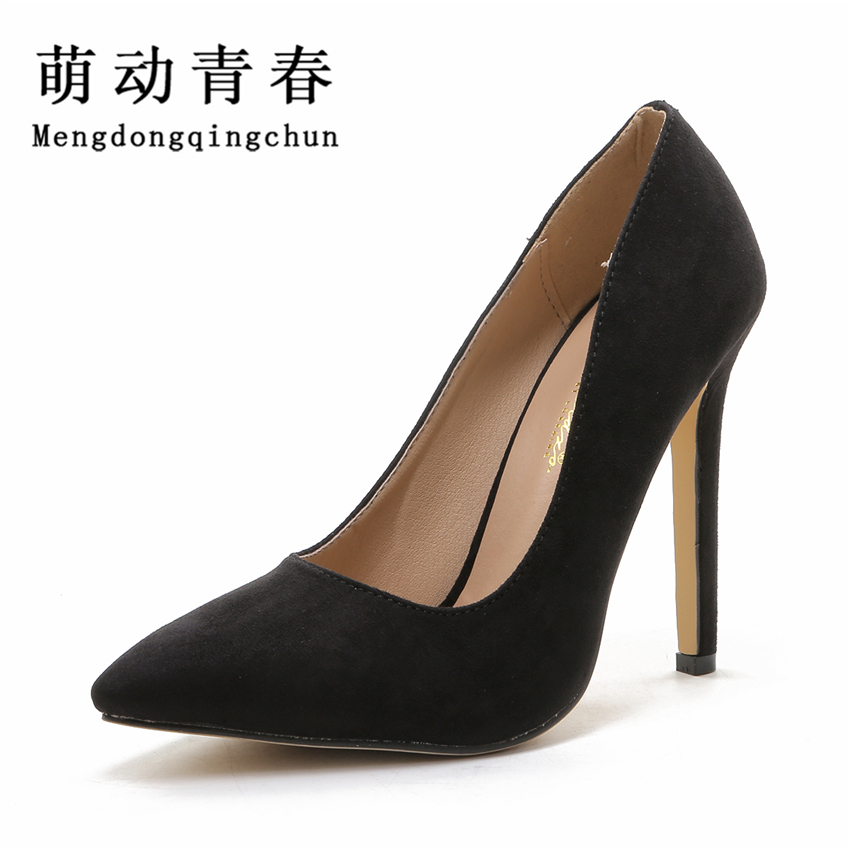 Women Pumps 2016 Pointed Toe Slip on Suede High Heels Wedding Shoes Woman Ladies Fashion Thin Heel Zapatos Mujer Plus Size bowknot pointed toe women pumps flock leather woman thin high heels wedding shoes 2017 new fashion shoes plus size 41 42