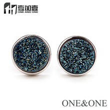 EYIKA 1 Pair Earring Free Shipping Round 8mm Lolite Blue Natural Druzy Stone Stud Earring Drusy Opal Jewelry for Women